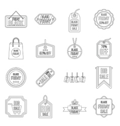 Black Friday icons set outline style vector image