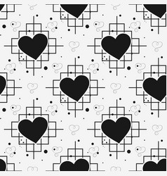 black heart and line seamless pattern on white vector image