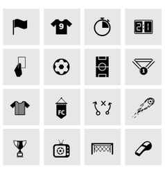 black soccer icon set vector image