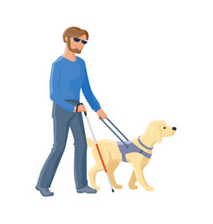 blind man walking with cane and guide dog vector image