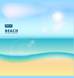 Blurry beach and blue sky with summer sun burst vector
