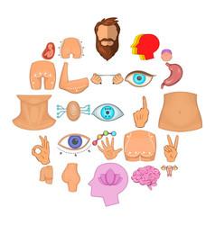 Body icons set cartoon style vector