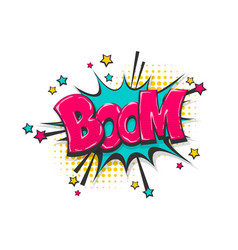 Boom pop art comic book text speech bubble vector