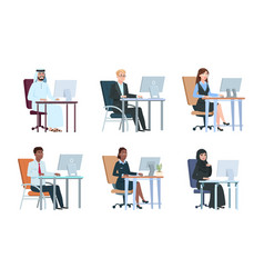 business people working at computer isolated work vector image