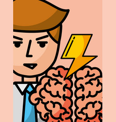 businessman cartoon creativity brain brainstorm vector image
