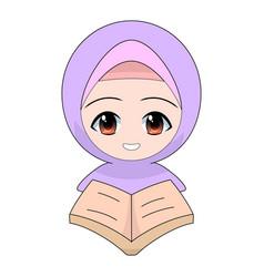 cartoon muslim girl reading a book or quran vector image