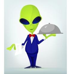 Cartoon Waiter Alien vector