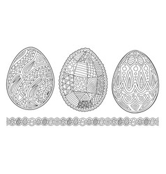 Cliparts for coloring book pages with eggs vector