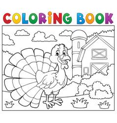 coloring book turkey bird theme 2 vector image