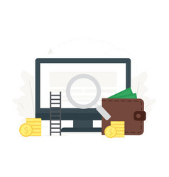 computer with money monitor vector image