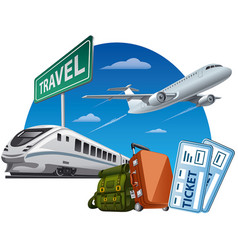 concept travel around world transport and vector image