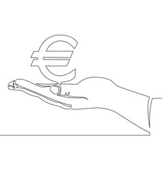 Continuous one line hand with euro concept vector
