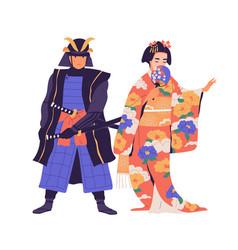 couple geisha and samurai standing isolated on vector image