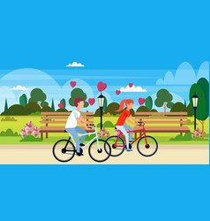 couple in love riding bicycles happy valentines vector image