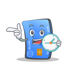 Credit card character cartoon with clock vector