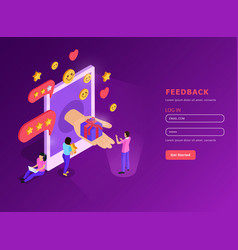 Crm feed back isometric composition vector