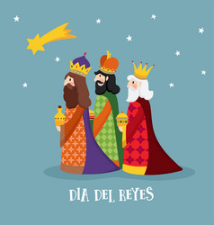 Cute christmas greeting card with biblical three vector
