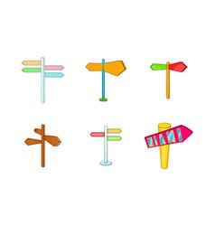 direction pillar icon set cartoon style vector image