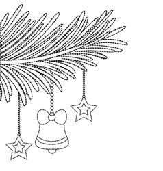 Dotted shape garland with bell and stars hanging vector