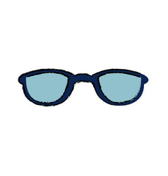 drawing blue glasses accessory fashion object vector image