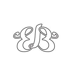 E b letter script lines logo design vector
