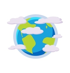 Earth planet in the clouds icon cartoon style vector image