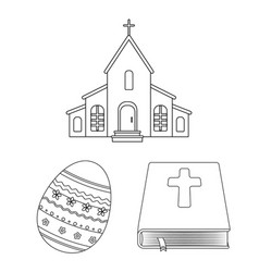 easter is a christian holiday outline icons in set vector image