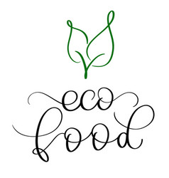 Eco food vintage text on white background vector