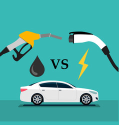 electric car and fuel fight vector image
