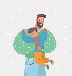 Father holding his son at the hands fatherhood vector