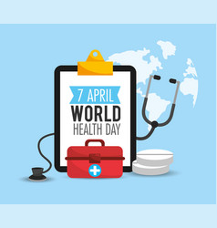 First aid and stethoscope to health day vector