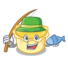 Fishing egg tart mascot cartoon vector