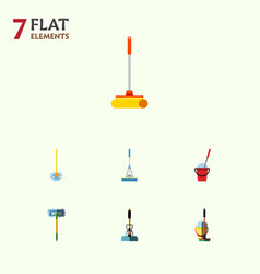Flat icon mop set of besom cleaner mop and other vector
