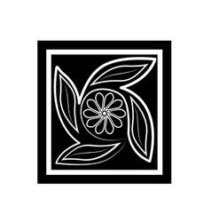 flower black silhouette on white vector image