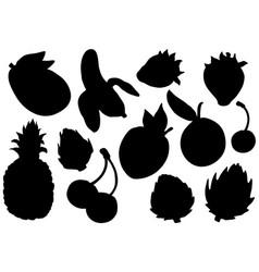 Fruit silhouettes set exotic summer fruit vector