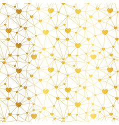 Golden web of hearts seamless repeat pattern vector