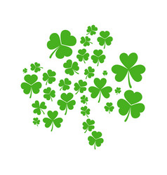 Green shamrock made of shamrocks vector