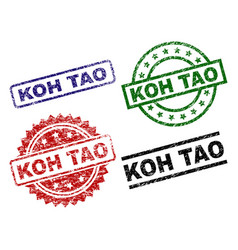 Grunge textured koh tao seal stamps vector