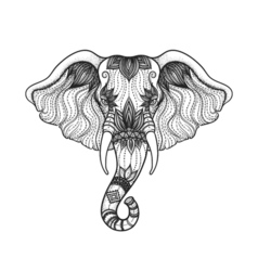 Head of a elephant line art boho design of Indian vector