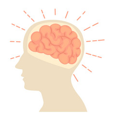 Head with brain icon cartoon style vector