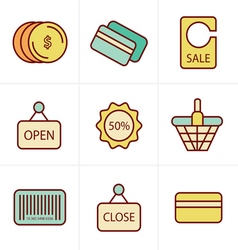 Icons Style Shopping Icon Set vector image