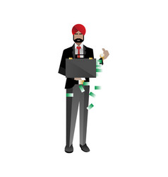 Indian bearded investor holding money suitcase vector