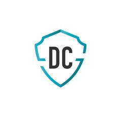 Initials letter dc creative shield design logo vector