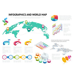 isometric world map with set of infographics vector image