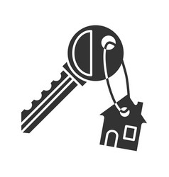 Key with trinket house glyph icon vector