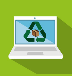 Laptop computer with recycle symbol vector