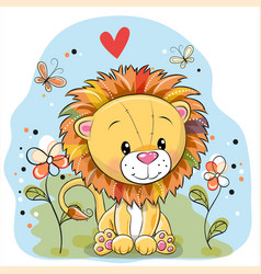 Lion with flowers and butterflies on a meadow vector