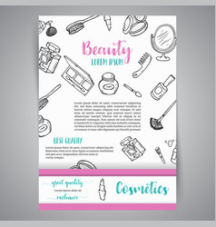 Makeup business broshure and banner cosmetics vector