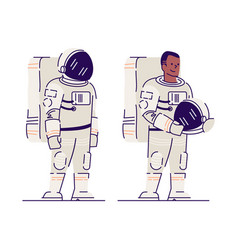 Male astronaut with helmet flat smiling afro vector