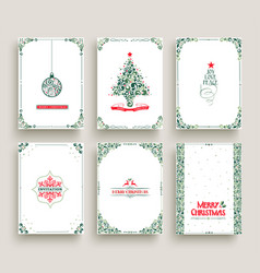 merry christmas card set template in vintage style vector image